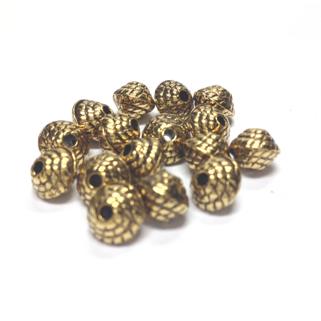 6MM Ant.Ham.Gold Rope Bead (144 pieces)