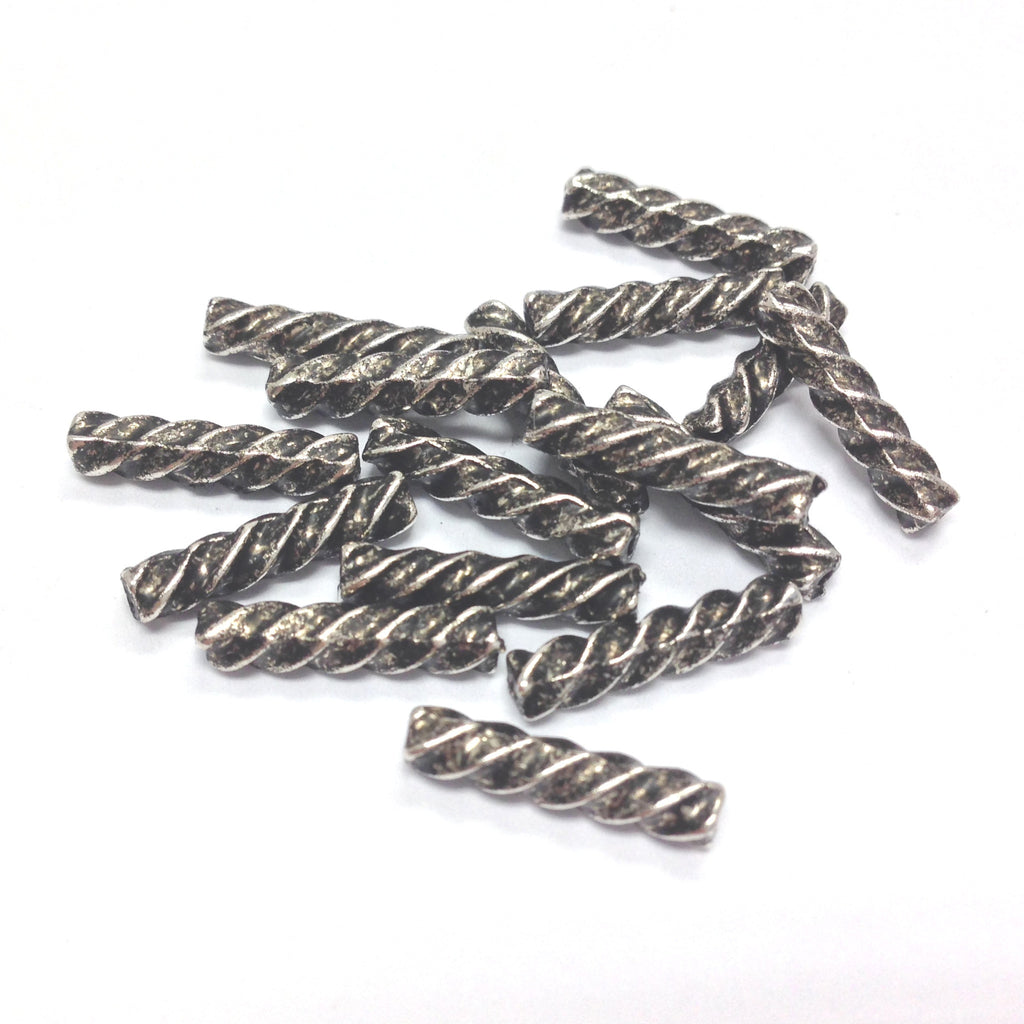 14X3MM Ant.Silver Twist Tube Bead (144 pieces)