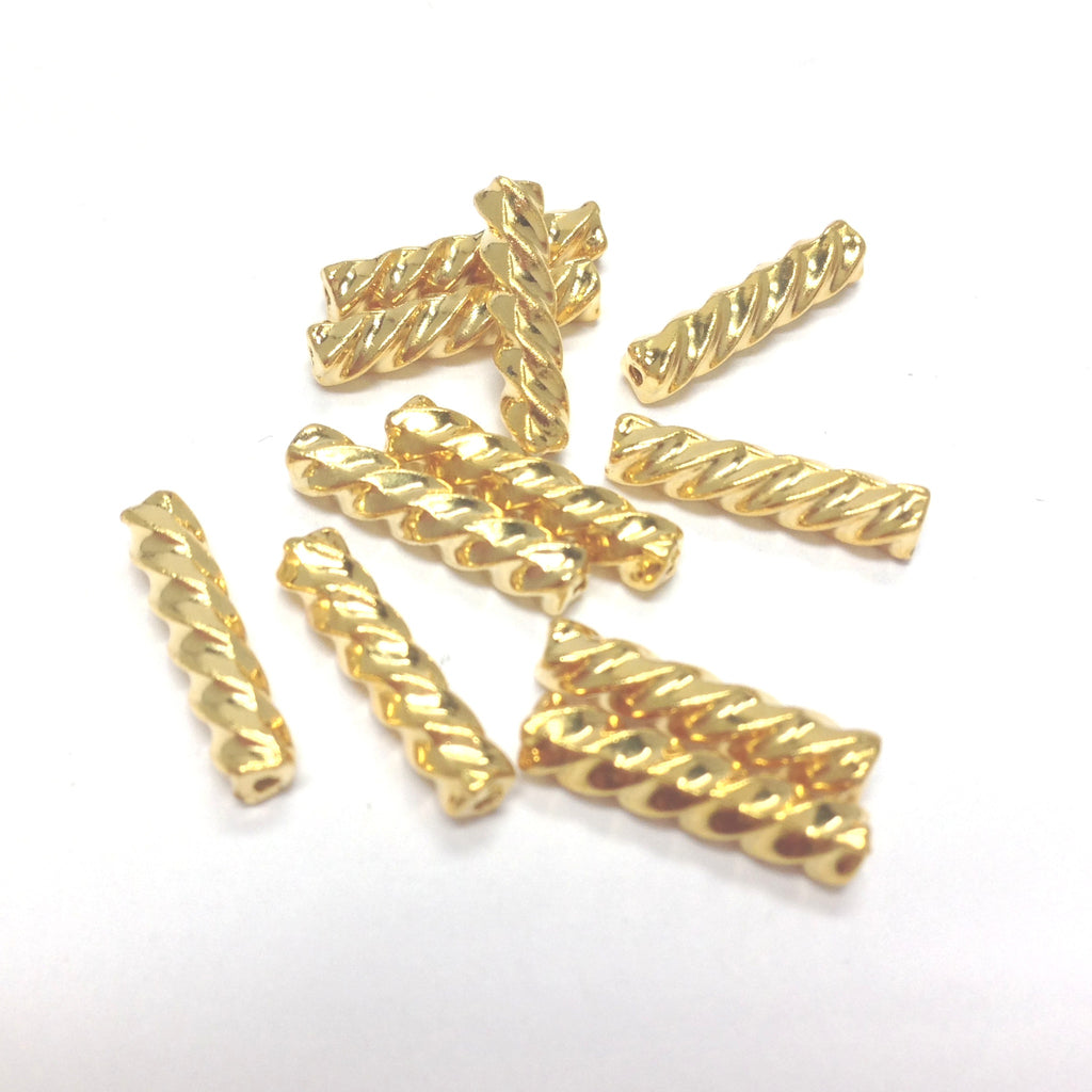 14X3MM Ham.Gold Twist Tube Bead (144 pieces)