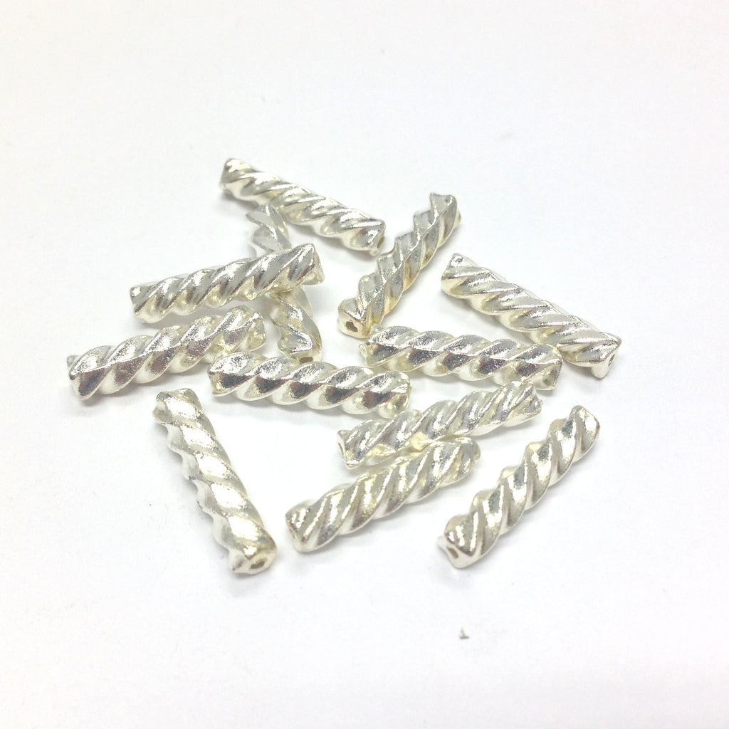 14X3MM Silver Twist Tube Bead (144 pieces)