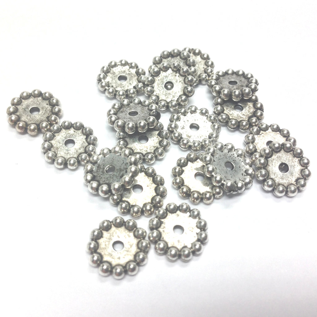 10MM Antique Silver Rondel (72 pieces)