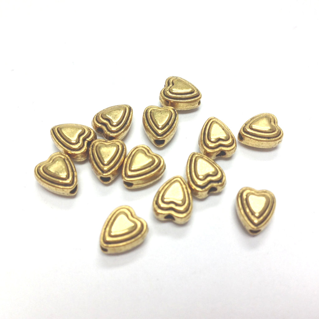 6MM Ant.Ham.Gold Heart Bead (144 pieces)