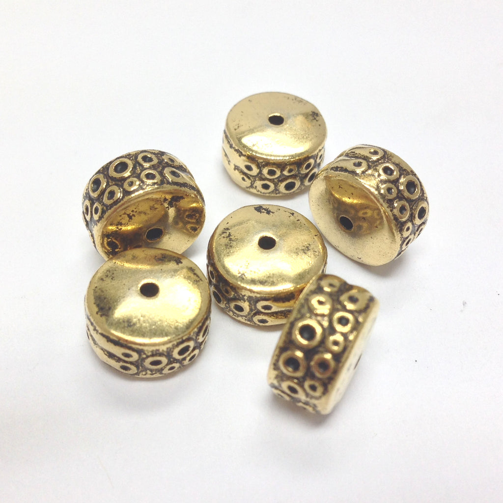 10X6MM Ant. Ham. Gold Rondel (36 pieces)