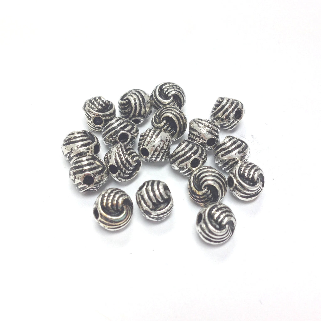 6MM Antique Silver Knotted Rope Bead (144 pieces)