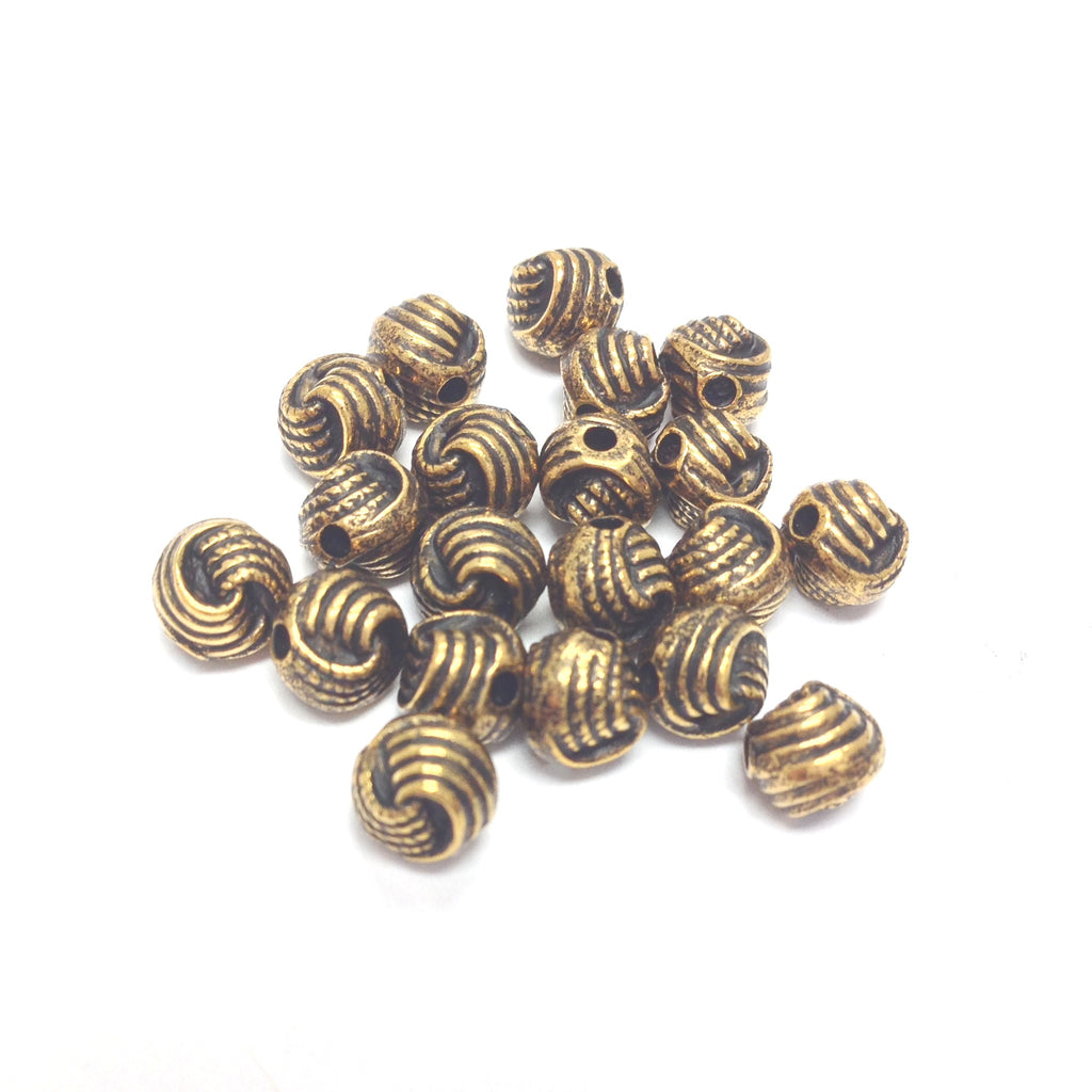 6MM Ant. Ham.Gold Knotted Rope Bead (144 pieces)