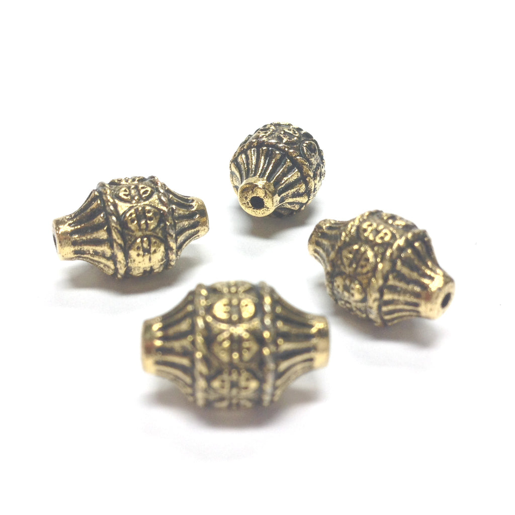 14X10 Ant.Ham.Gold Lantern Bead Bead (36 pieces)
