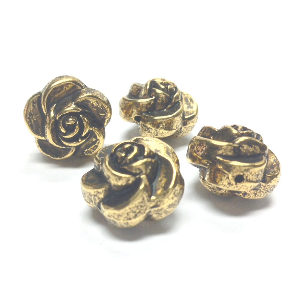 16MM Ant. Hamilton Gold Flower Bead (24 pieces)