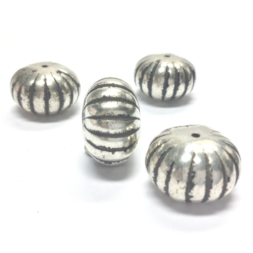 18X12MM Ant.Silver Fluted Rondel Bead (24 pieces)