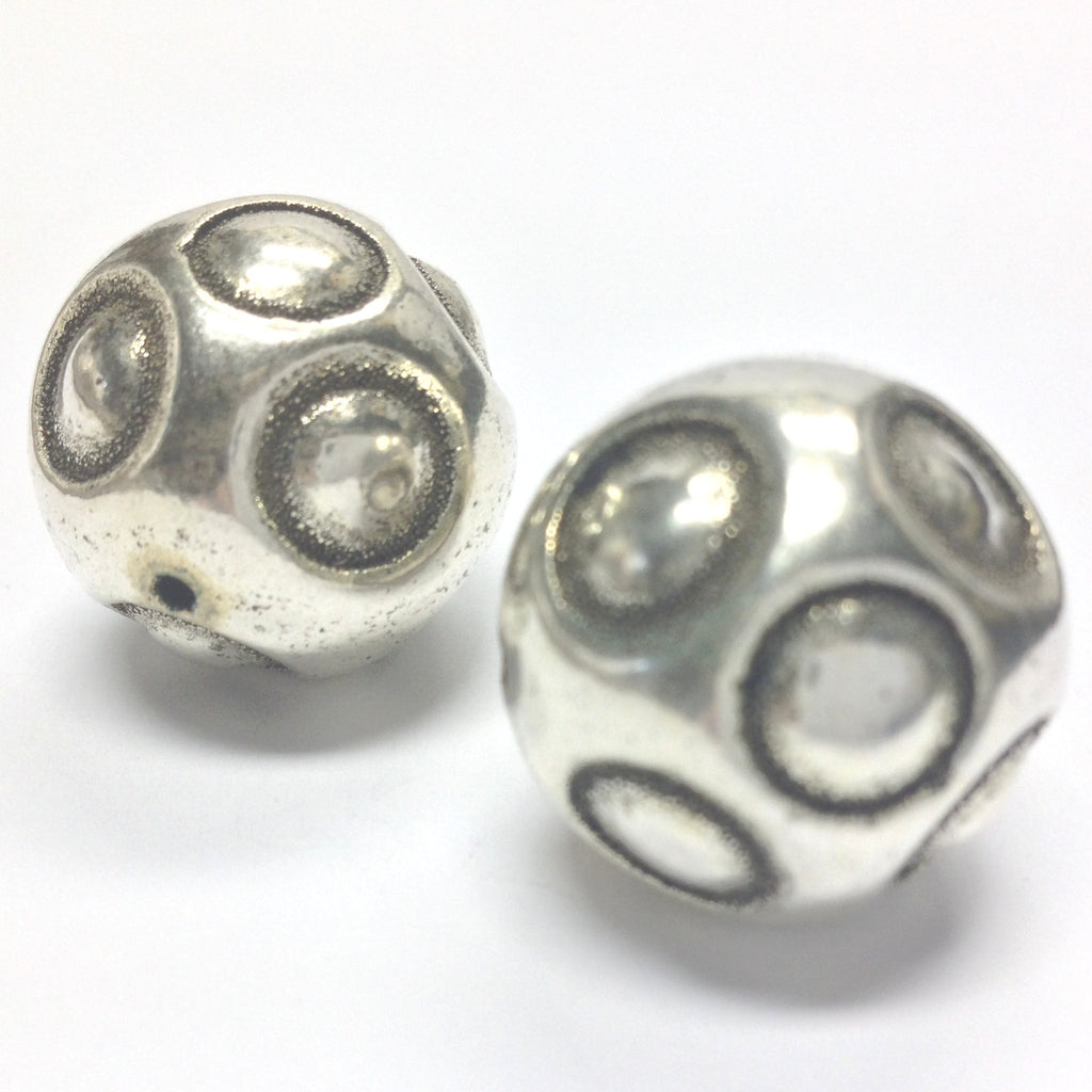 22MM Ant.Silver Polka Dot Bead (12 pieces)