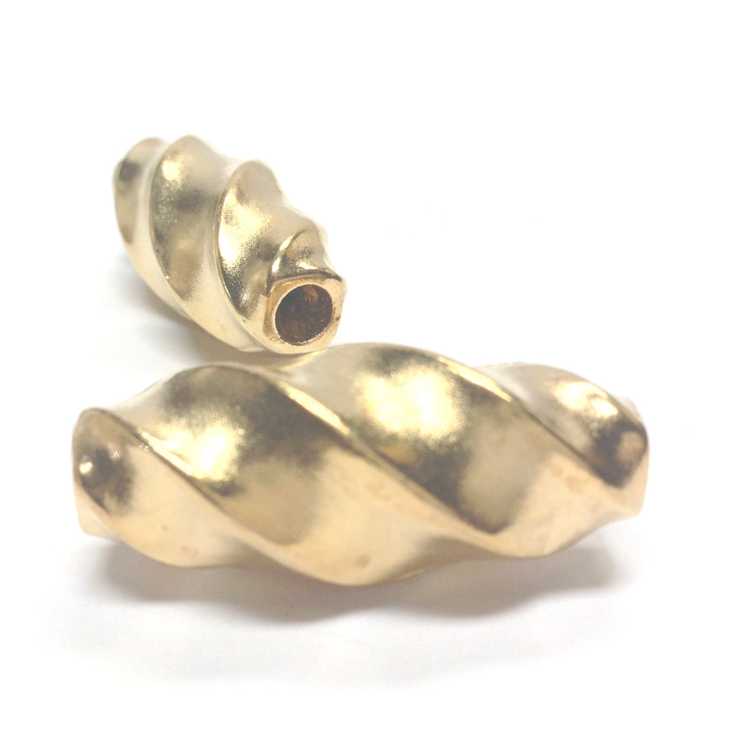 34X15MM Large Gold Oval Twist Bead (12 pieces)