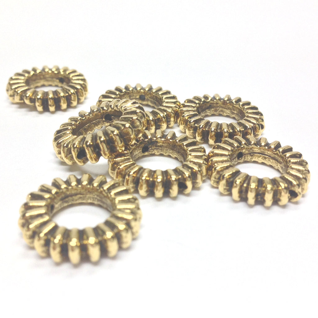 16MM Antique Ham.Gold Ring Bead (36 pieces)