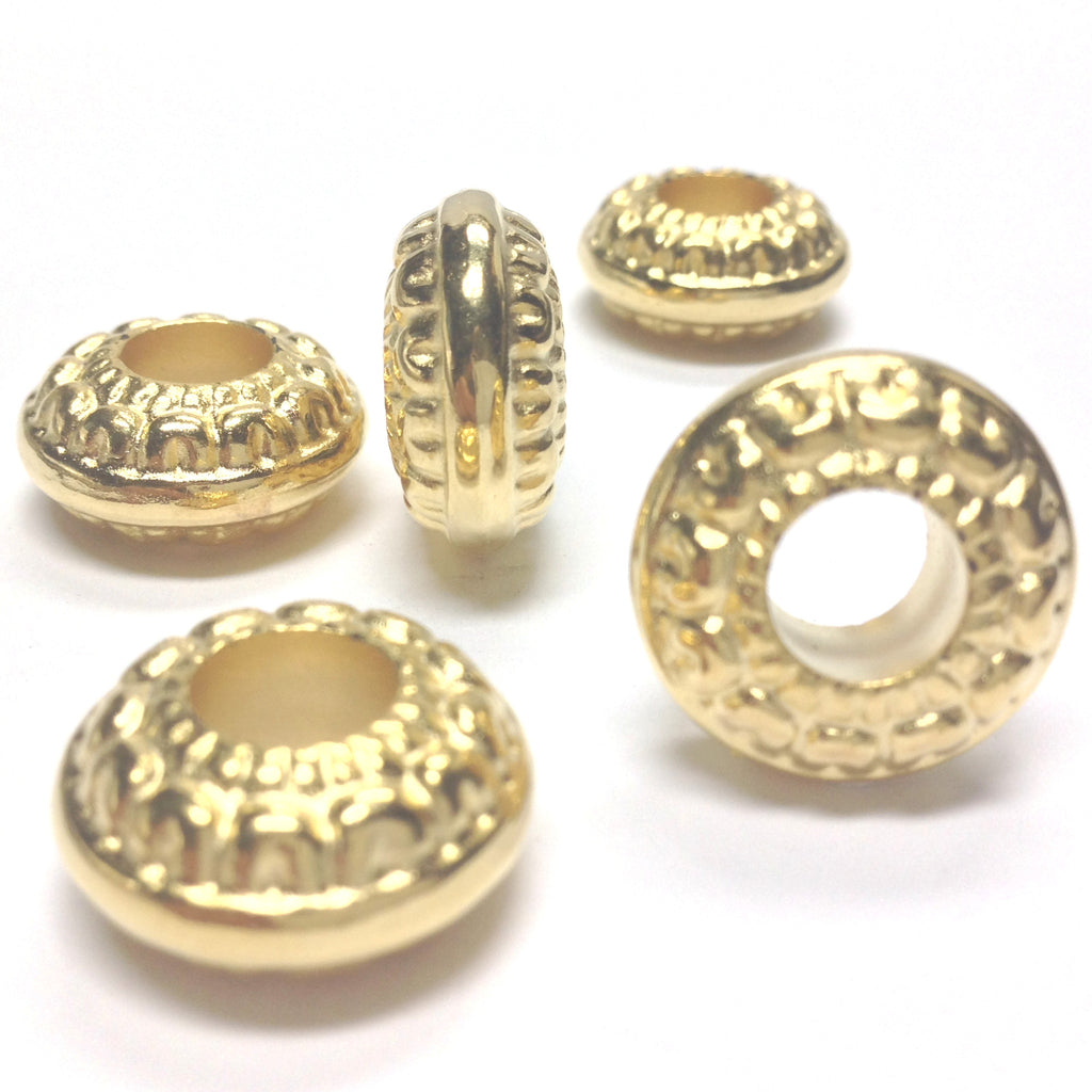 18MM Ham.Gold Lge.Hole Rondel (24 pieces)