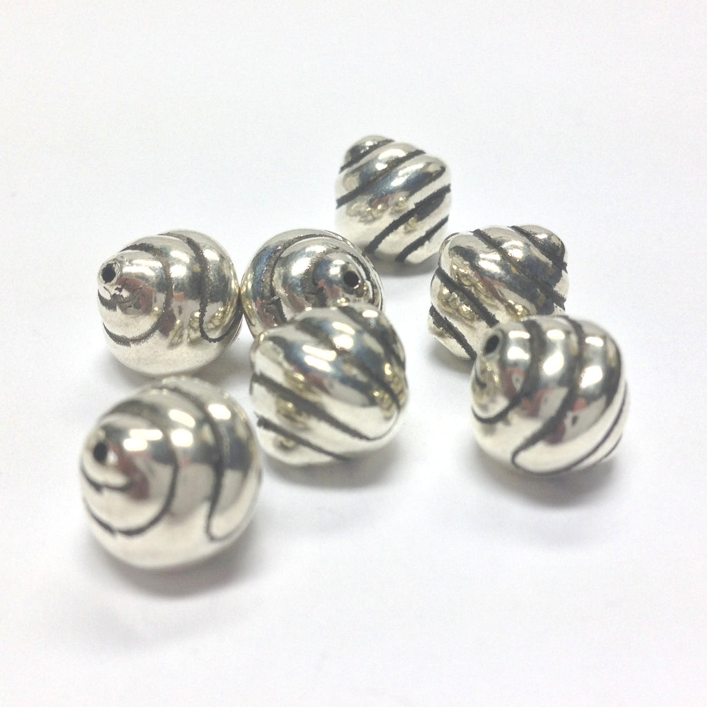 12MM Antique Silver Swirl Bead (36 pieces)