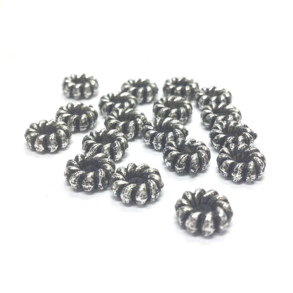 9MM Ant.Silver Fluted Rondel (144 pieces)