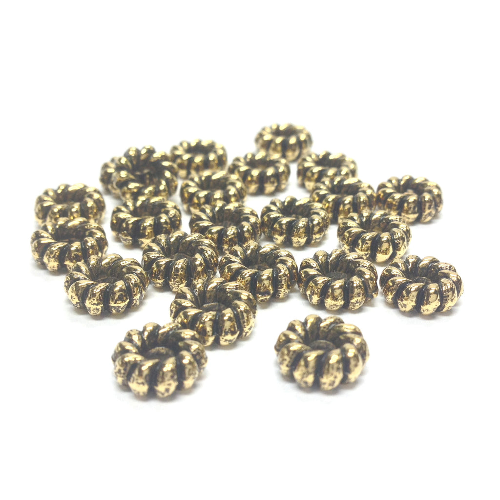9MM Ant.Ham.Gold Fluted Rondel (144 pieces)