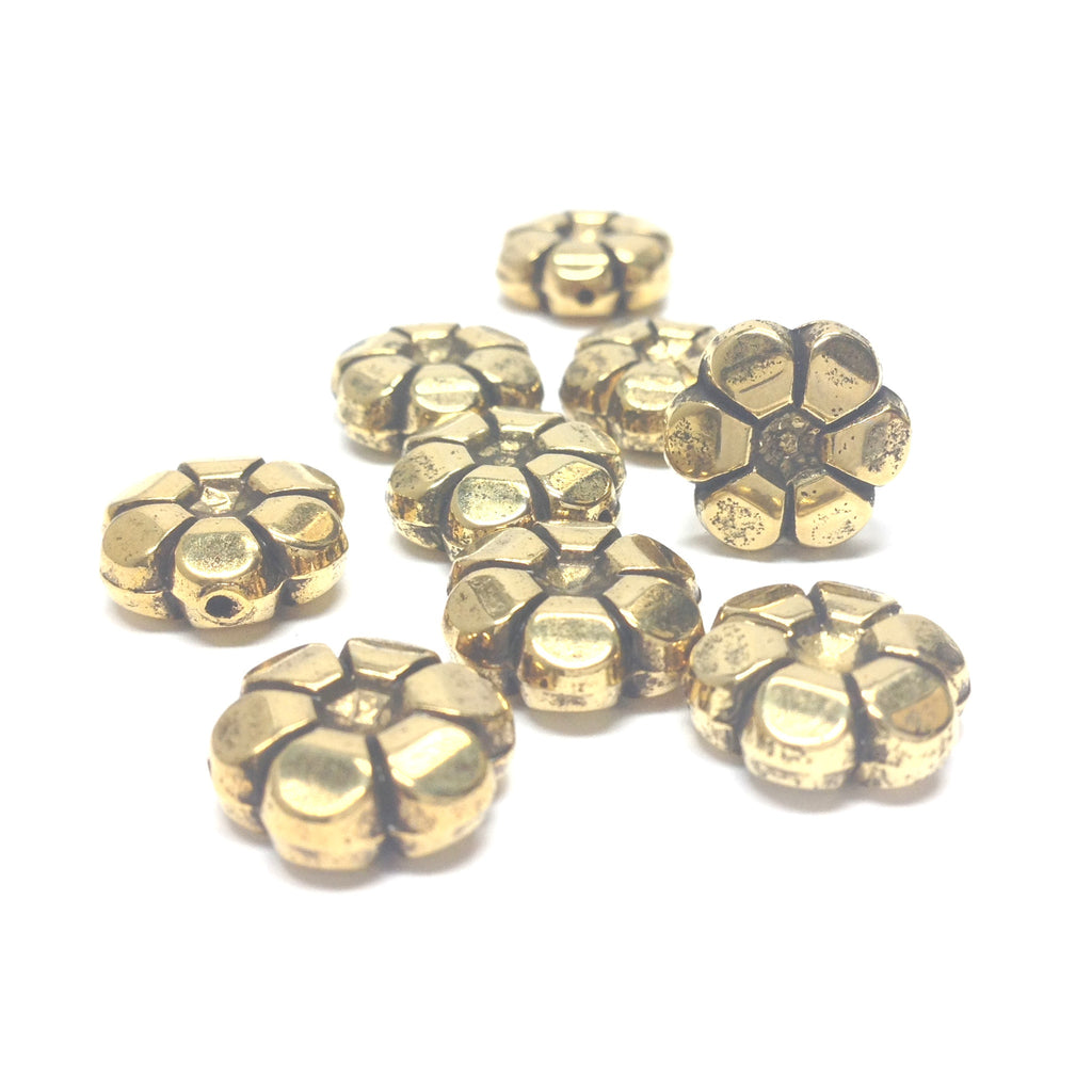 13MM Ant.Ham.Gold Flower Bead (72 pieces)