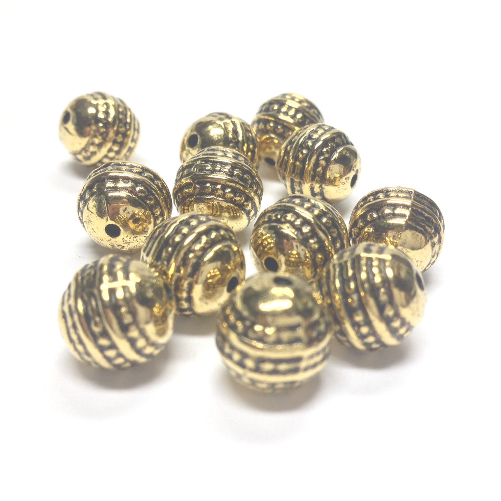 10MM Ant.Ham.Gold Fancy Bead (72 pieces)