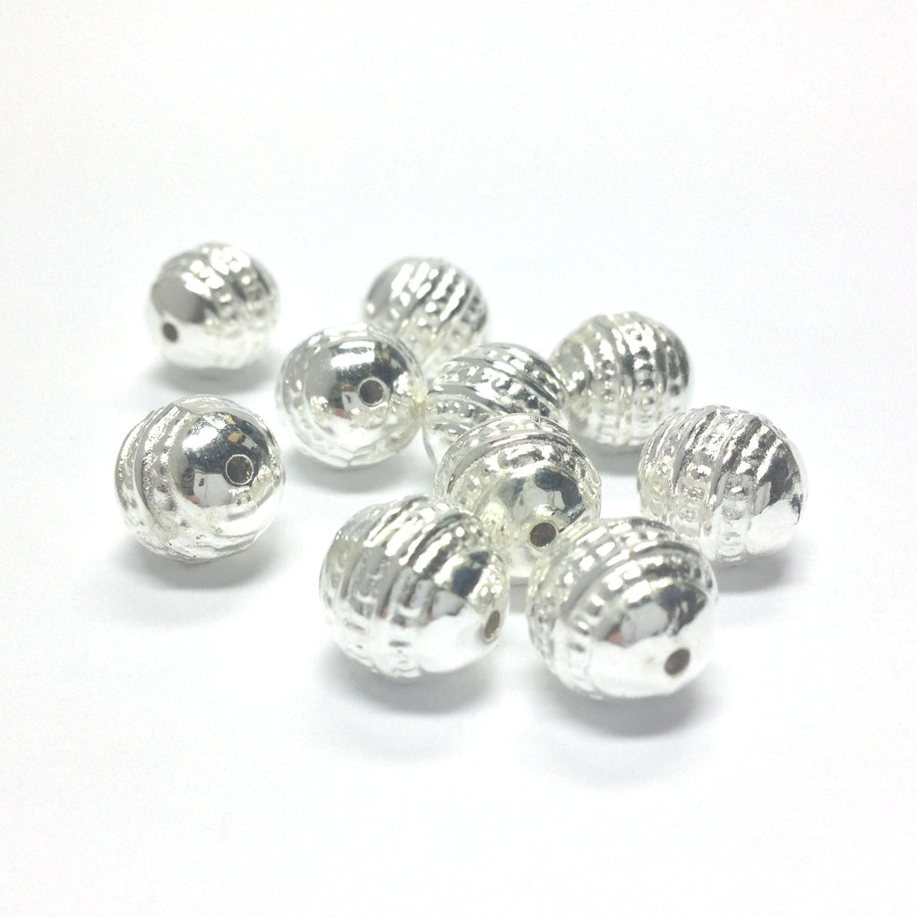 10MM Fancy Silver Round Bead (72 pieces)