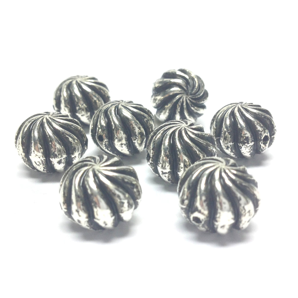 Large Antique Silver Swirl Bead (24 pieces)