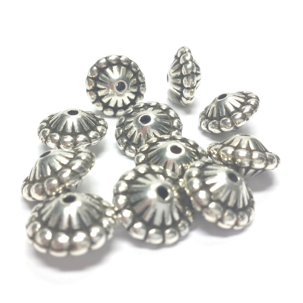 12X8MM Fancy Ant.Silver Ribbed Bead (72 pieces)