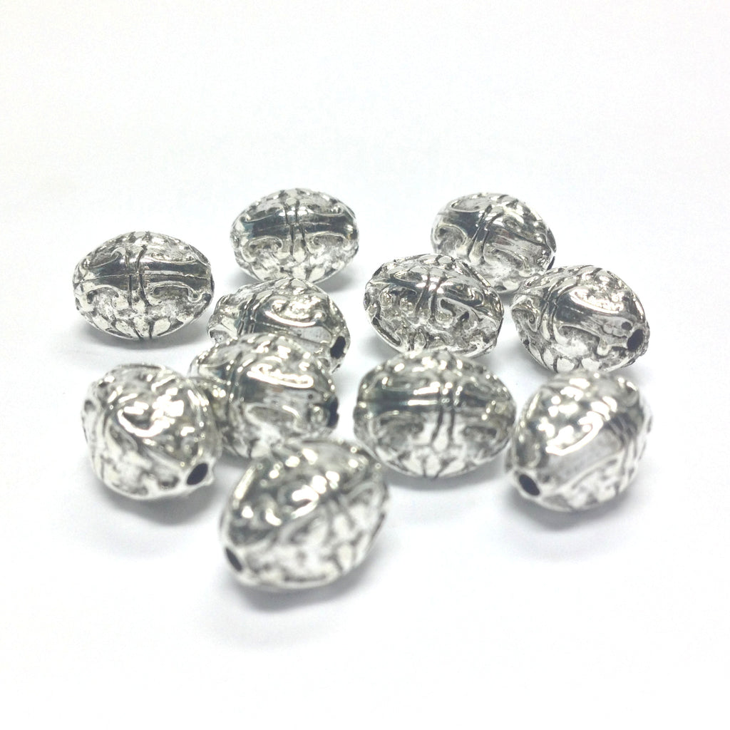 15X12MM Ant.Silver Fancy Oval Bead (36 pieces)