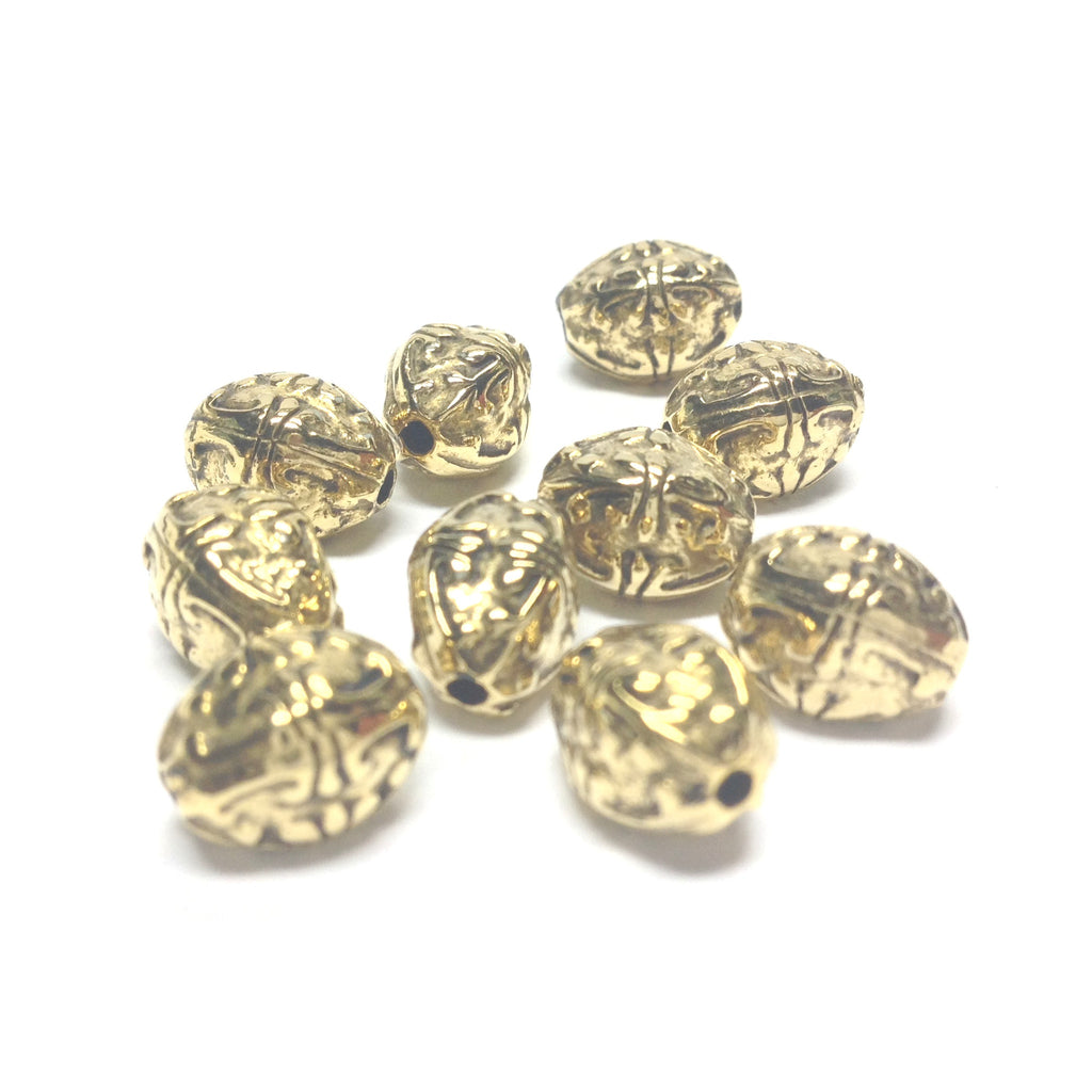 10X8MM Ant.Ham.Gold Oval Bead (36 pieces)
