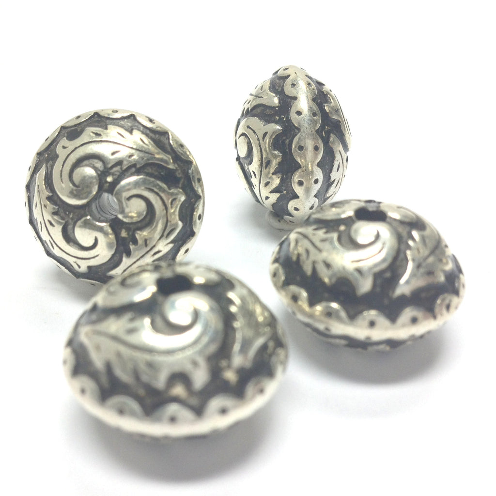 25X18MM Fancy Ant. Silver Bead (12 pieces)