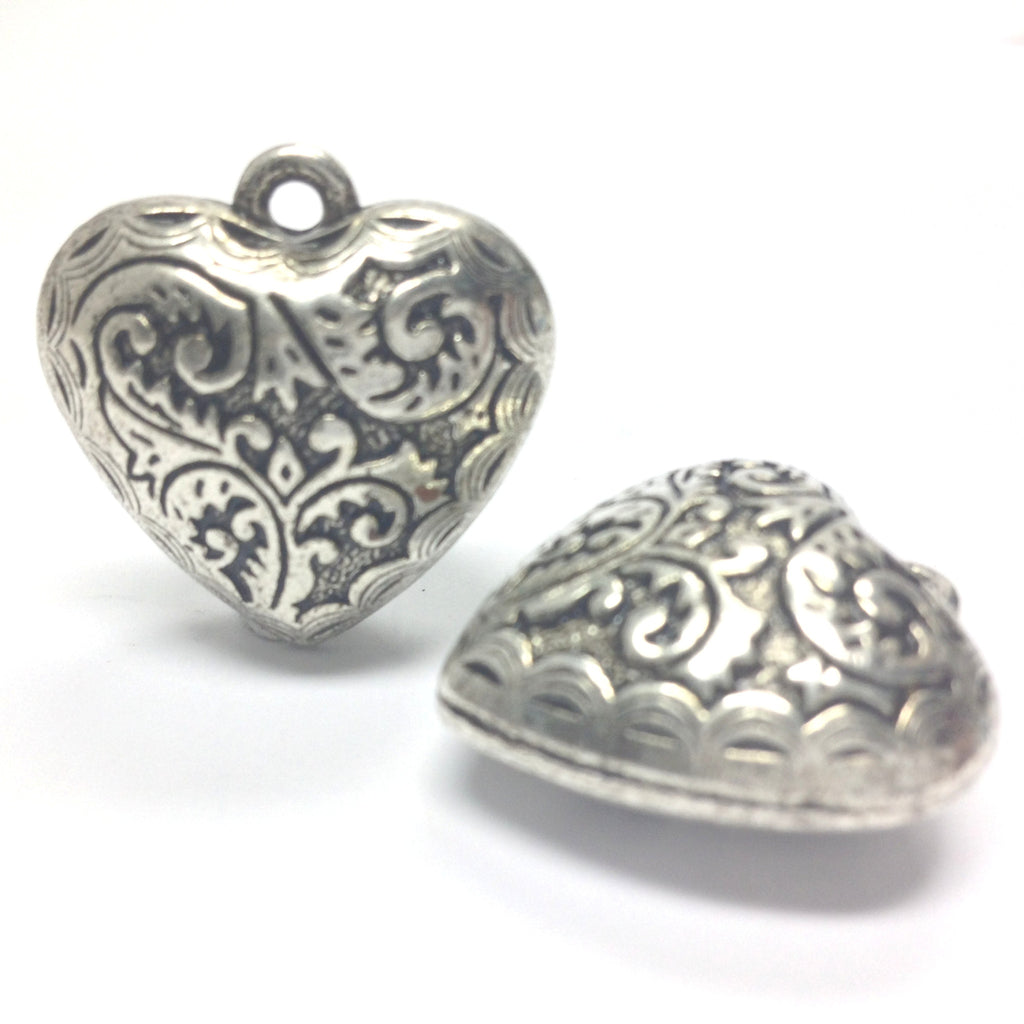 24MM Ant.Silver Filigree Heart Drop (12 pieces)