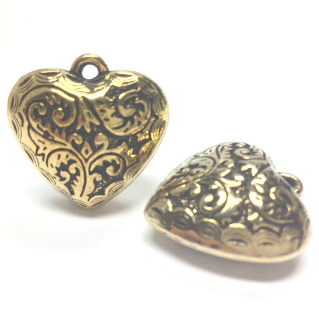 24MM Ant.Ham.Gold Filigree Heart Drop (12 pieces)