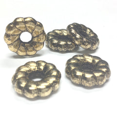 18MM Ant. Ham. Gold Fluted Rondel (36 pieces)