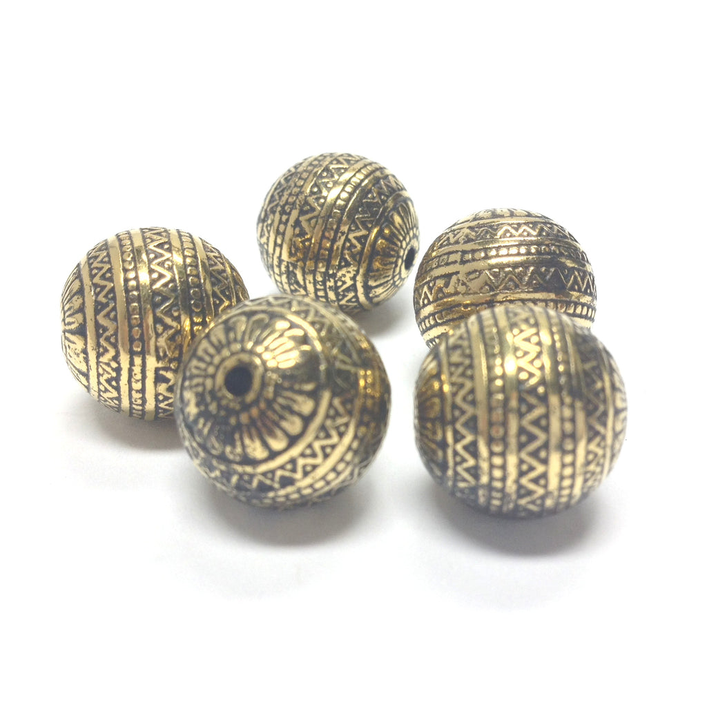 18MM Fancy Ant. Ham. Gold Bead (12 pieces)