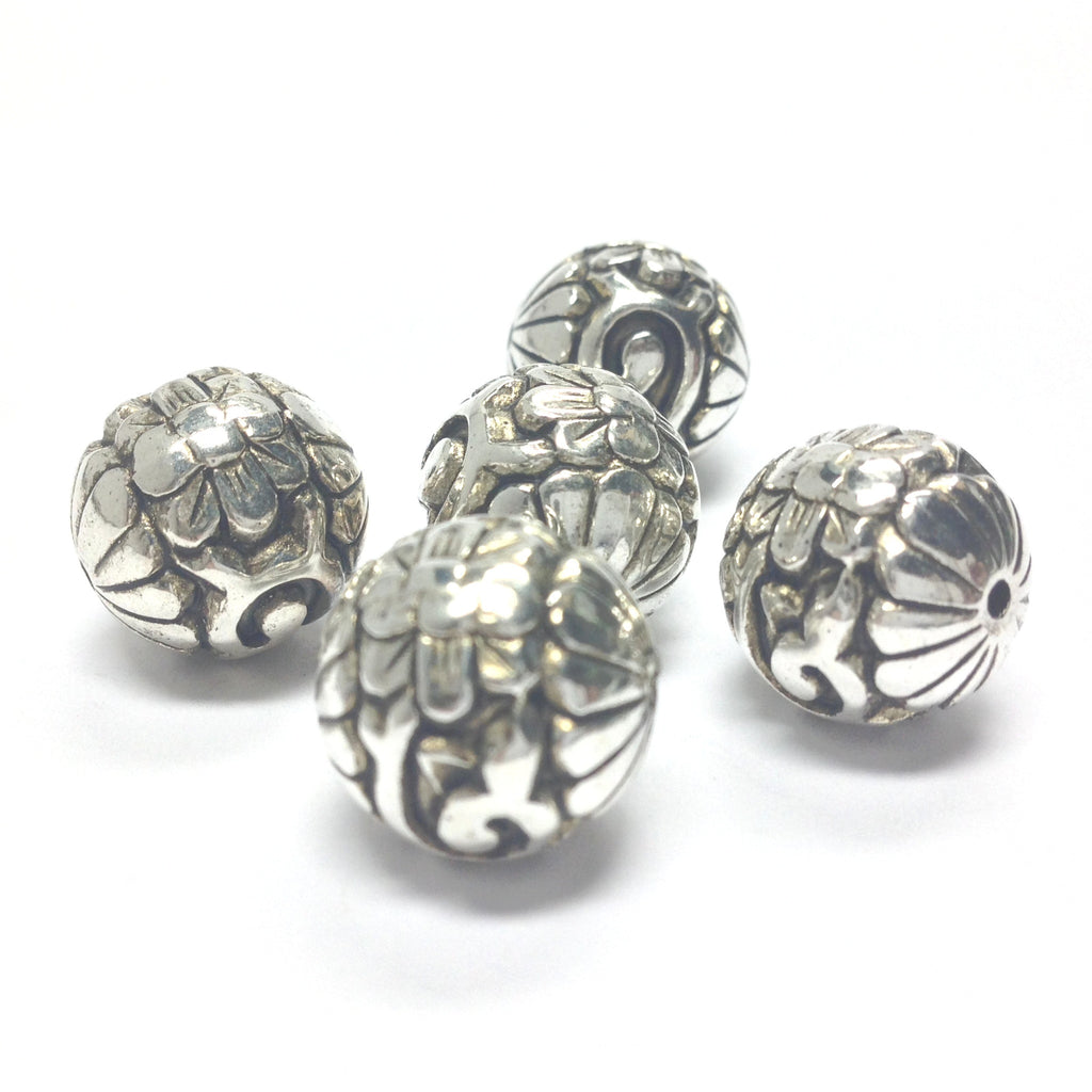 14MM Ant. Silver Scarabee Bead (24 pieces)