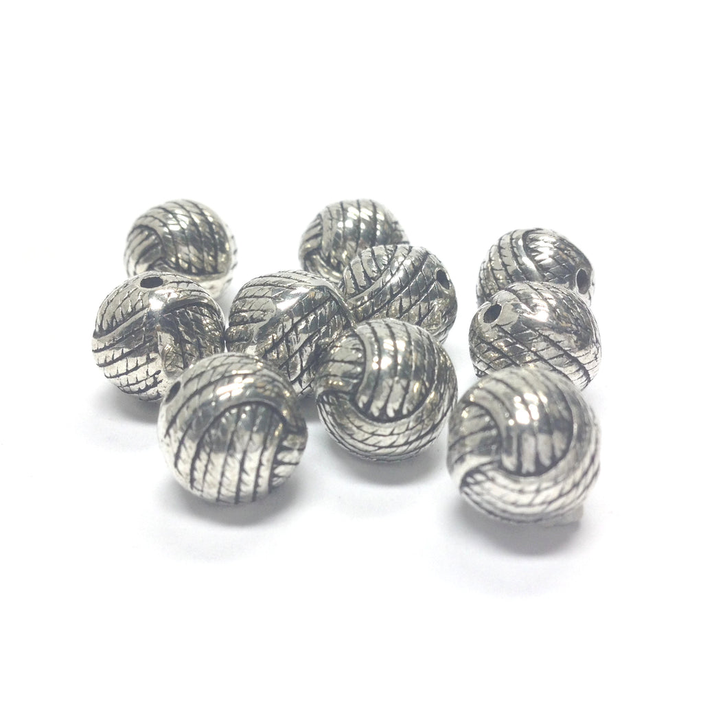 10MM Antique Silver Rope Bead (36 pieces)