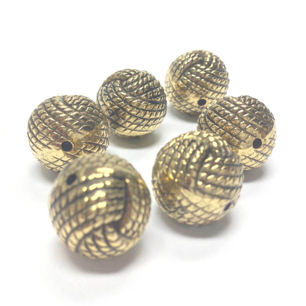 14MM Ant.Hamilton Gold Rope Bead (24 pieces)