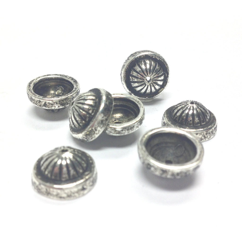 11MM Antique Silver Fluted Cap (72 pieces)