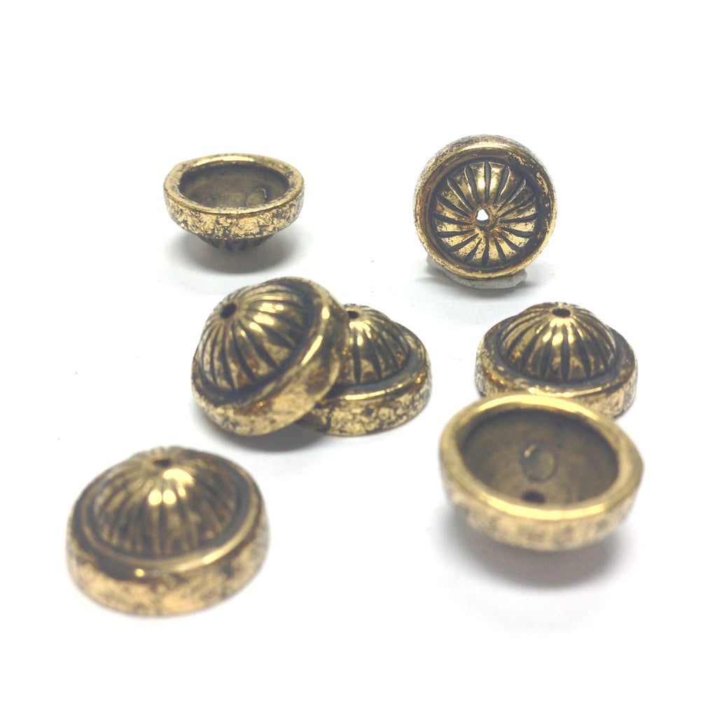 16MM Ant. Ham.Gold Fluted Cap (36 pieces)