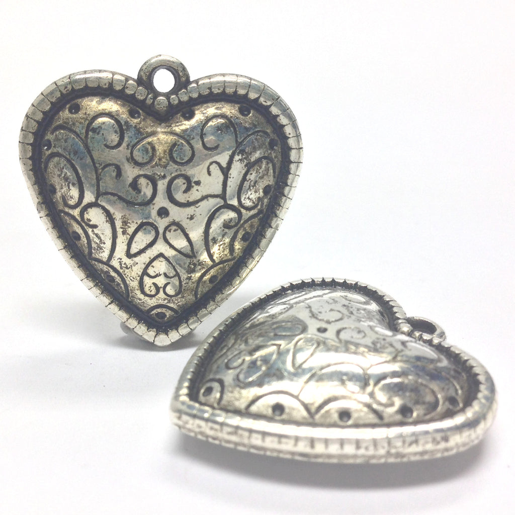 35MM Ant. Silver Heart Drop (12 pieces)