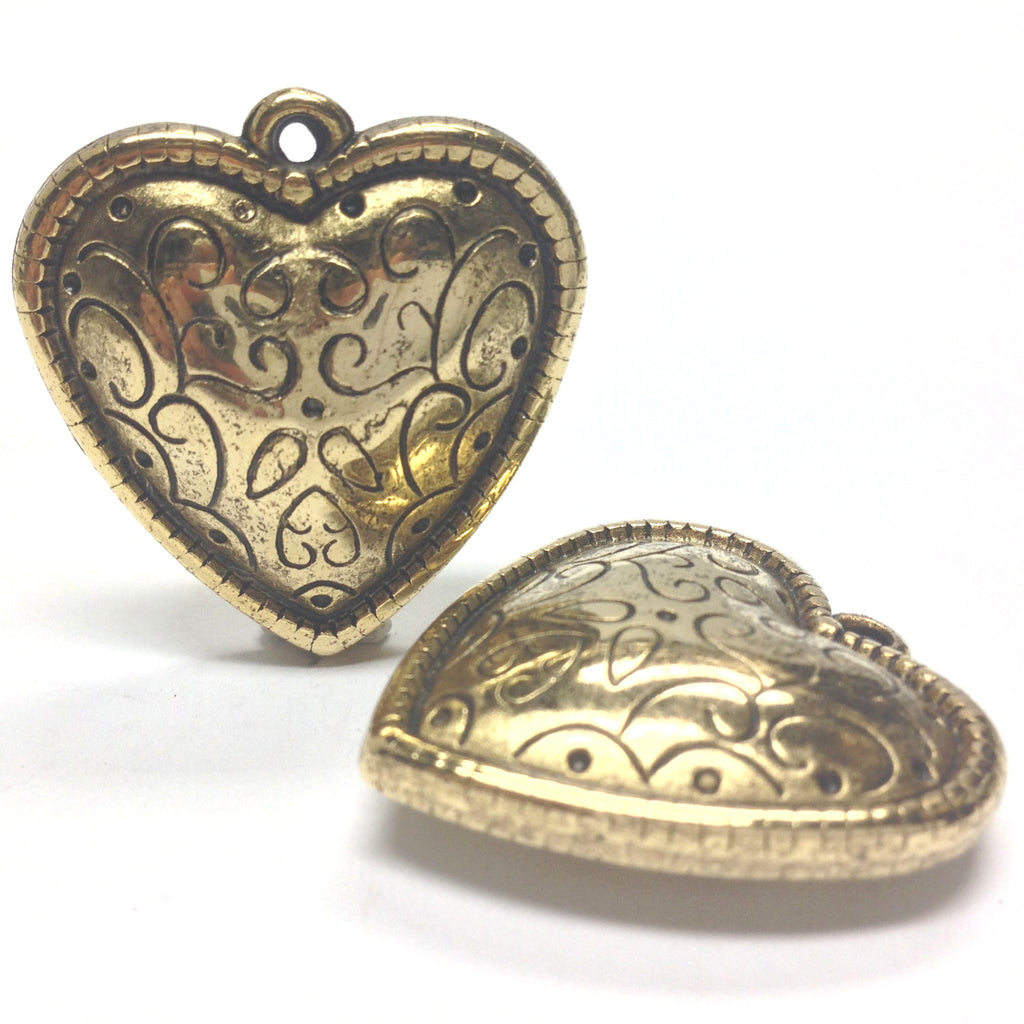 28MM Ant.Ham.Gold Heart Drop (12 pieces)
