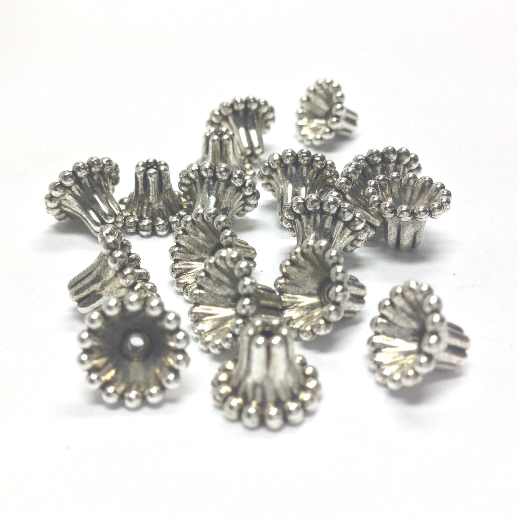 9MM Beaded Antique Silver Cap (72 pieces)
