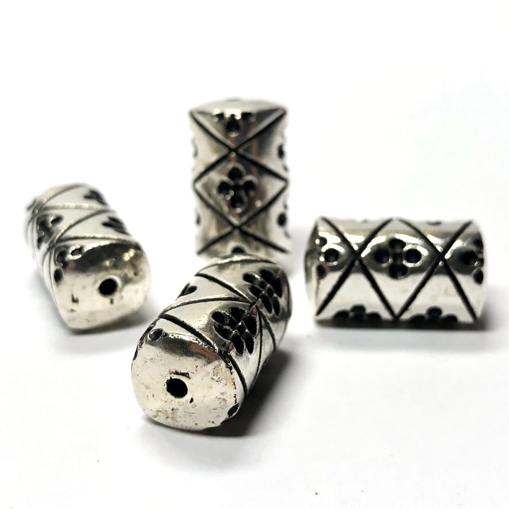 10X6MM Fancy Antique Silver Tube Bead (72 pieces)