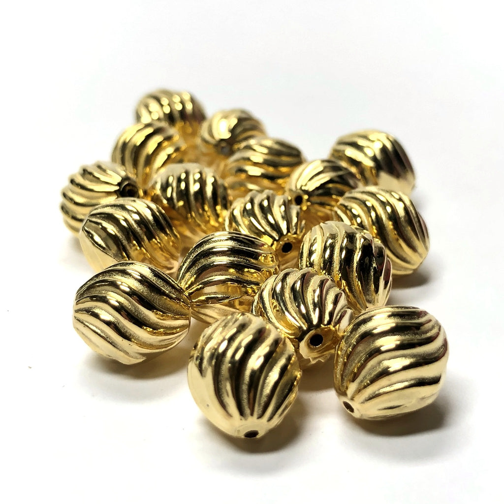 10MM Hamilton Gold Fluted Oval Bead (72 pieces)