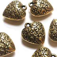 35MM Antique Ham.Gold Heart Cab (6 pieces)