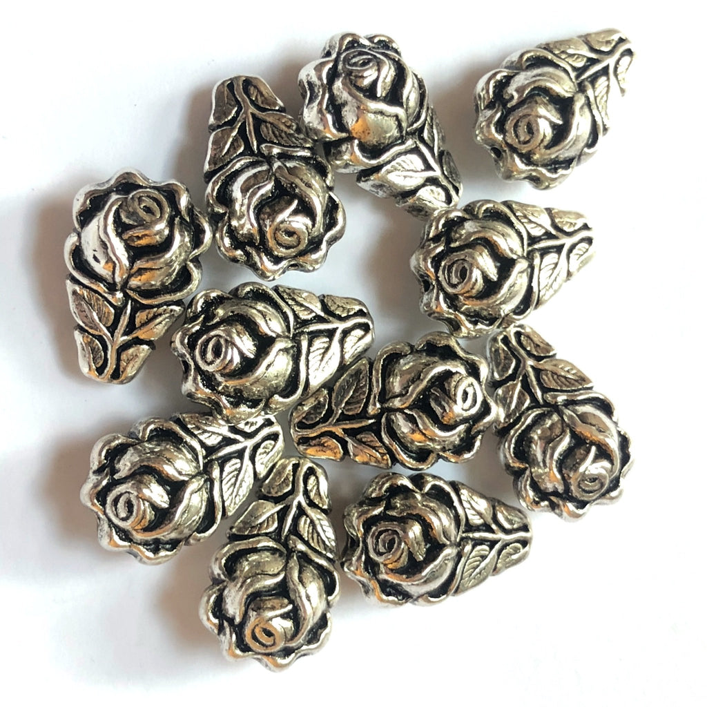 14X9MM Antique Silver Rose Pear Bead (72 pieces)