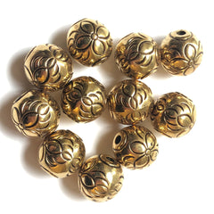 10MM Antique Ham.Gold Floral Bead Large 2MM Hole (72 pieces)
