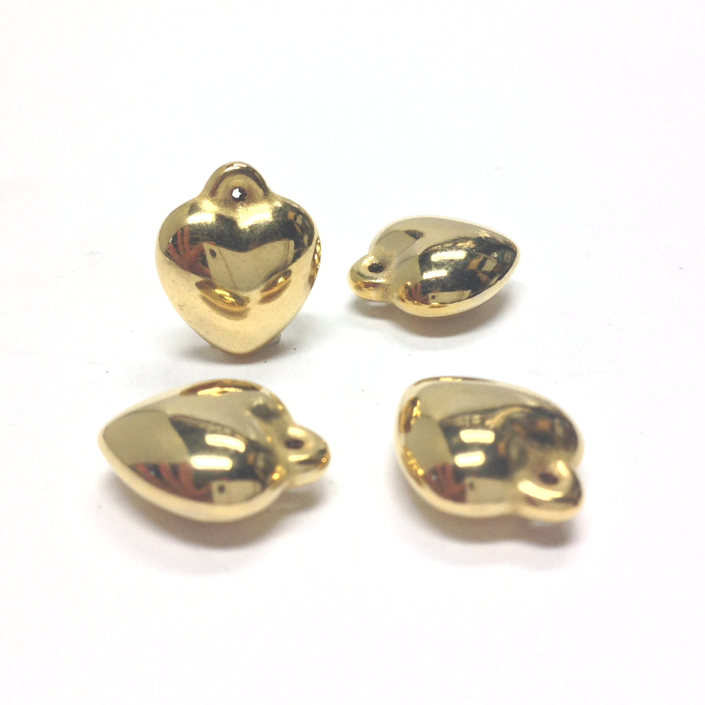 24MM Ham.Gold Puff Heart Drop w/Loop (24 pieces)