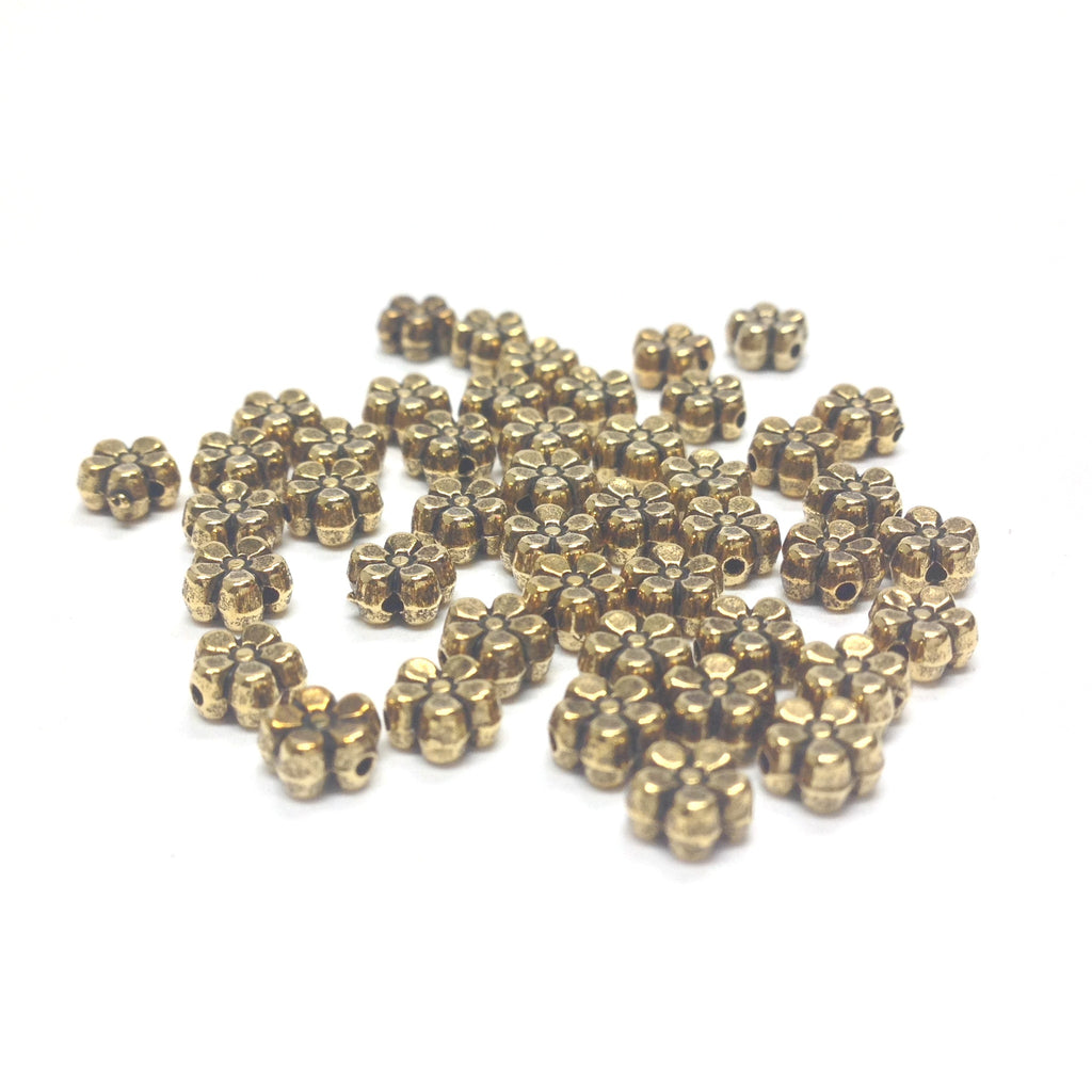 5MM Antique Ham.Gold Flower Bead (144 pieces)