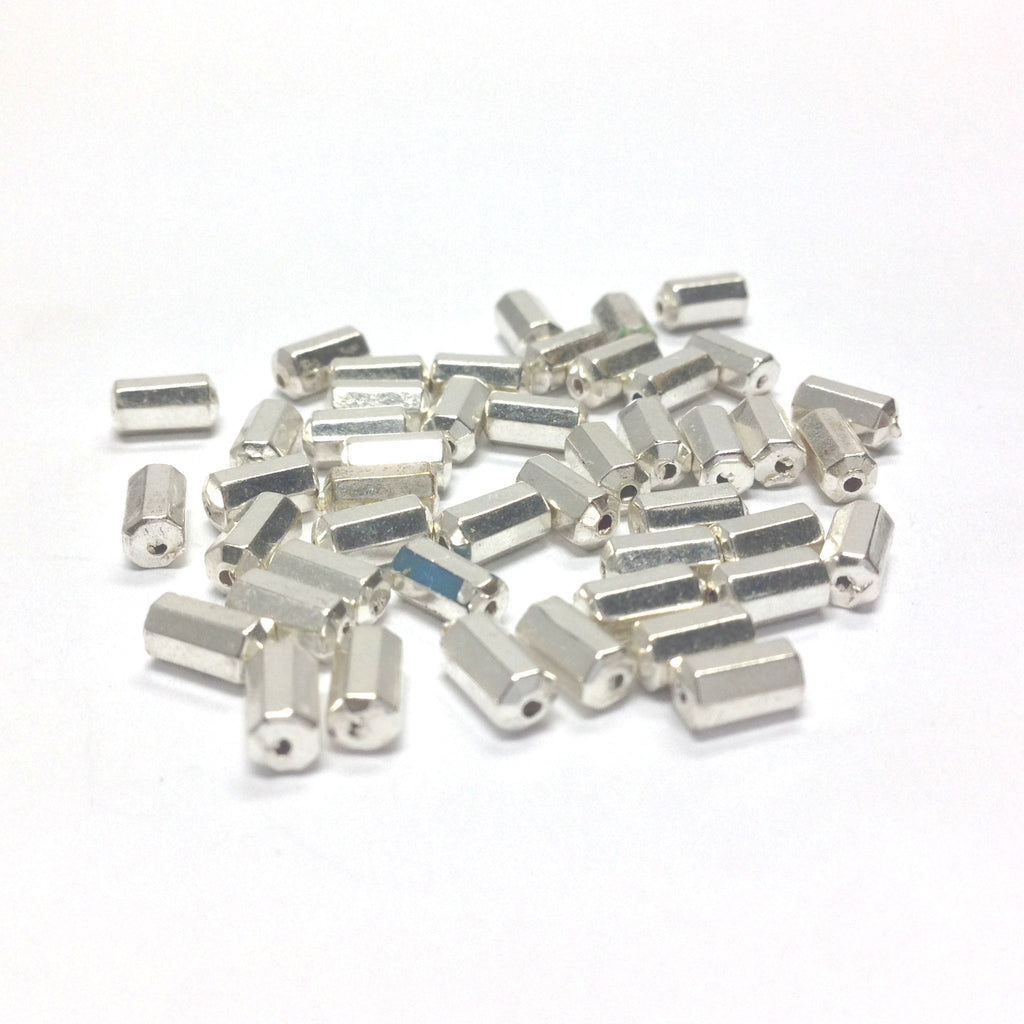 6X3MM Silver Faceted Bead (144 pieces)