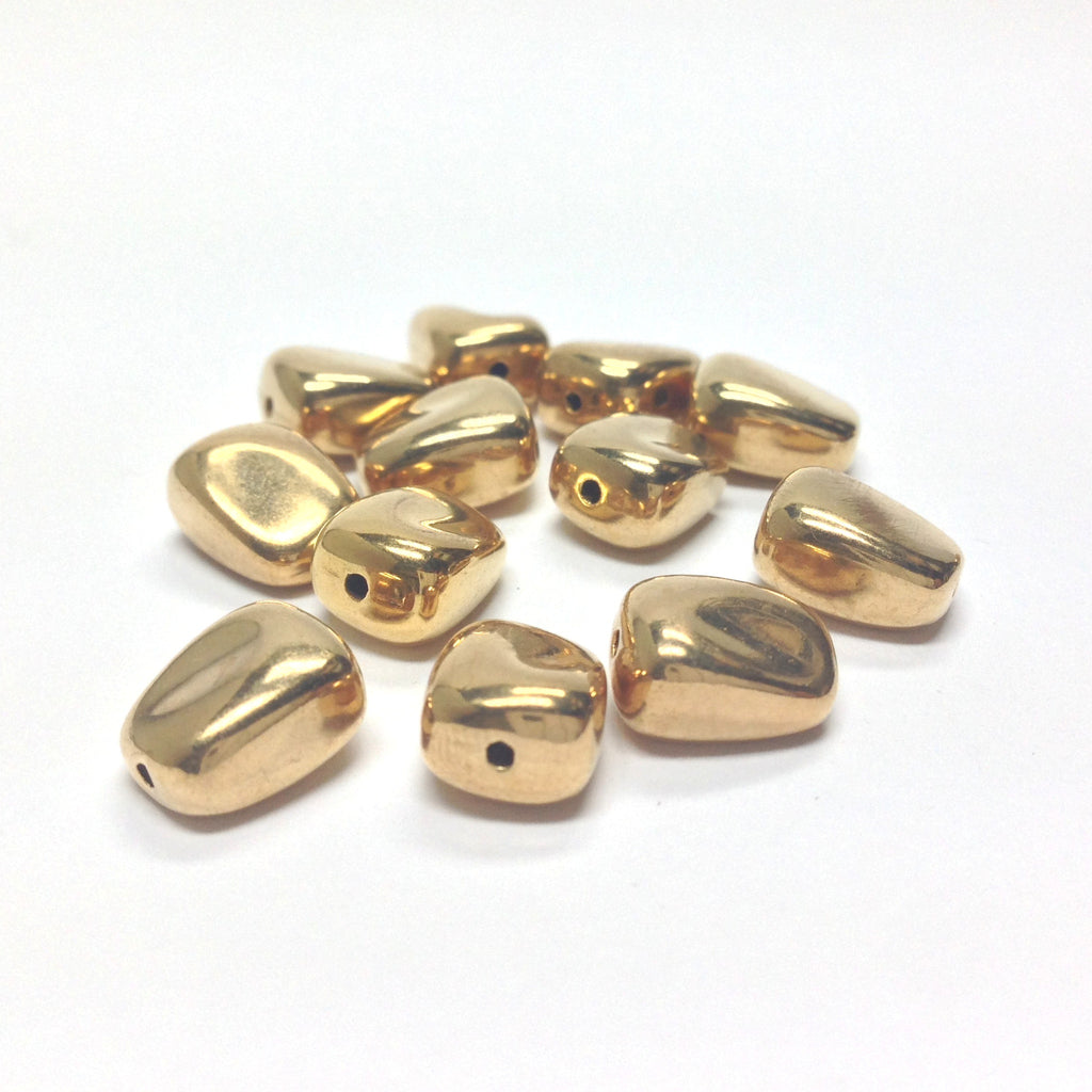 10MM Flat Hamilton Gold Nugget Bead (72 pieces)