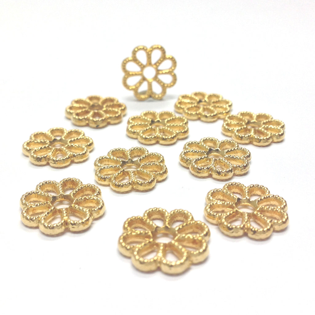 Ham.Gold Lacy Flower Rondel (72 pieces)