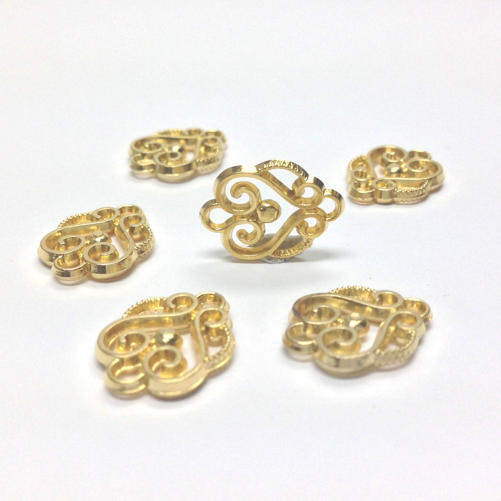 Ham. Gold Plated Scroll Drop (72 pieces)